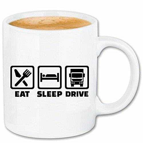 Kaffeetasse 'LKW-FAHRER - TRUCKER - FERNFAHRER - NAHVERKEHR - FERNVERKEHR' Keramik 330 ml in Weiß