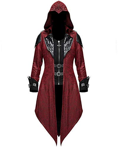 Devil Fashion Damen Gotik Jacke Mantel mit Kapuze Rot Dieselpunk Assassins Creed - Rot & Schwarz, S - UK Womens Size 8