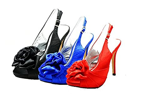 Ivory Satin rosette peep toe sling back bridesmaid shoes (Rosette Sling)