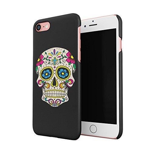 Red Skulls Snap (Schwarz Sugar Candy Blumen Red Rose Mexican Skull Pattern Dünne Rückschale aus Hartplastik für iPhone 7 & iPhone 8 Handy Hülle Schutzhülle Slim Fit Case cover)