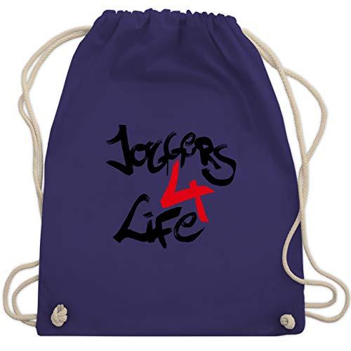 Statement Shirts - Joggers 4 life - Unisize - Lila - WM110 - Turnbeutel & Gym Bag (Marathon Kordelzug)