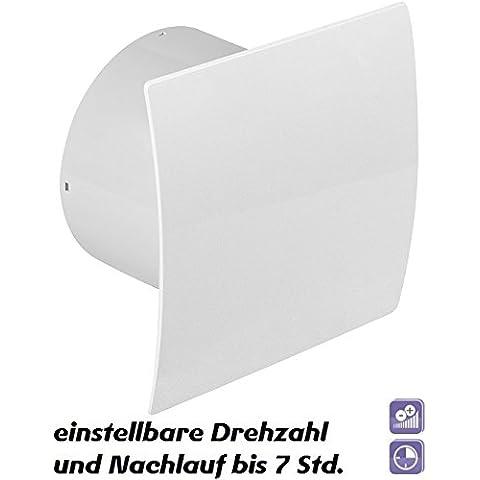 Diámetro de 125 mm Badventilator diseño brillante blanco de punta curva con micro procesador para regulación de velocidad temporizador y válvula antirretorno WEB125CTR rodamientos de bolas ventilador pared ventilador baño ventilador de montaje de ventilador de cocina o baño 12,5
