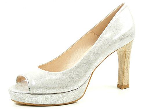 Hispanitas Toulouse HV75137 Schuhe Damen Plateau Peeptoe Pumps, Schuhgröße:37.5;Farbe:Silber
