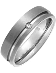 Theia Court Diamant Matt und gerillt Ring 6 mm Titan 0.05ct