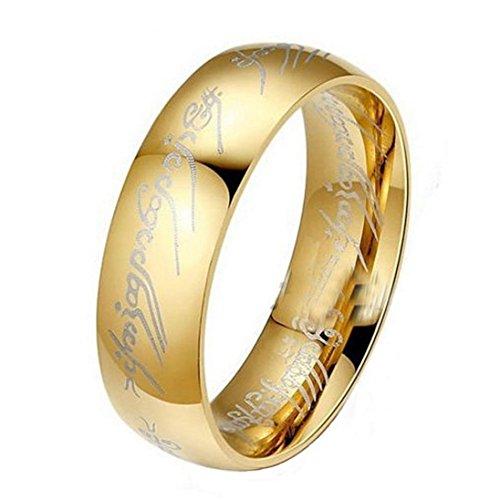 Dragon868❃Ring Herren❃Herr der Ringe Edelstahl Bilbos Hobbit Gold Ring (18mm)