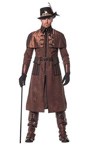 Steampunk Herren Mantel Braun/Schwarz Kostüm Jacke viktorianisch Industrial hochwertig, Größe:48 (Accessoire Halloween Stiefelstulpen)