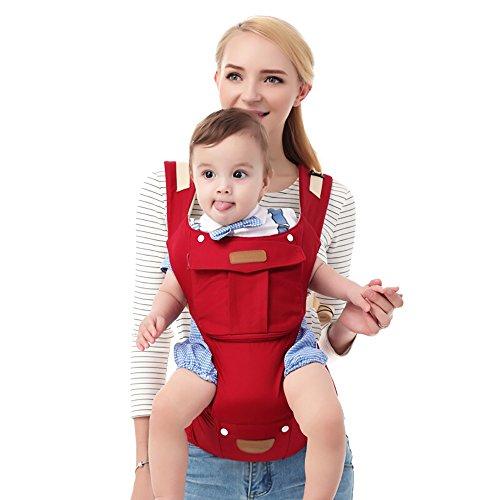 Baby-Gurtzeug Mit Verstellbarem Bund Front-atmungsaktive Atmungsaktive Schulter Multifunktionale Baby-Lenden-Bänke Frontscheibe Kann Demontiert Werden A++ (Farbe : Red)