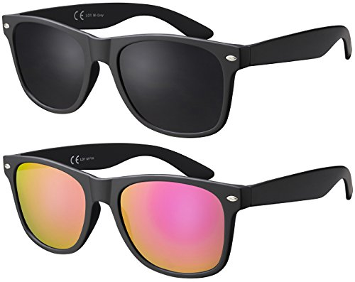 Original La Optica UV400 Unisex Sonnenbrille Wayfarer - Farben, Einzel-/Doppelpacks, Verspiegelt (Doppelpack Matt Schwarz (Gläser: 1 x Grau, 1 x Pink verspiegelt))