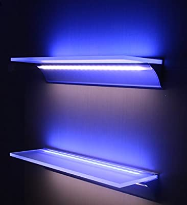 DIY Shelf in frosted glass with double aluminium profile for LED strips, 2 strips included - BLUE and COOL WHITE, anodised aluminium finished in silver, 41 cm long, transformer is not included