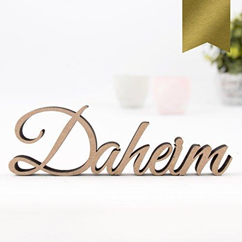 """Kleinlaut 3D-Schriftzug """"Daheim"""" in Größe: 25 x 7,9 cm - Dekobuchstaben - 32 Farben zur Wahl - Gold"""