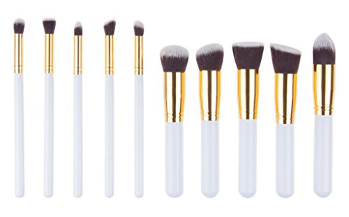 Bigood Pinceau Maquillage 10Pcs Kit de Pinceaux Visage Poudre Make-up Brosse
