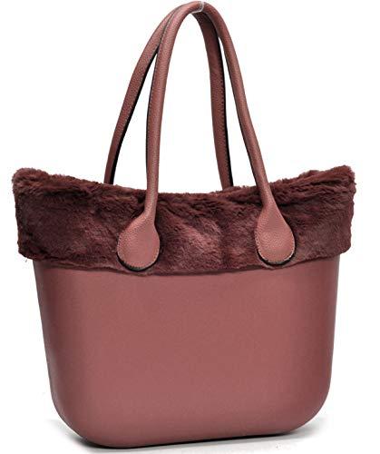 Borsa bag spalla donna fantasia silicone manici sacca scocca completa ricamati bordo pelliccia pelo smontabile (rosa)