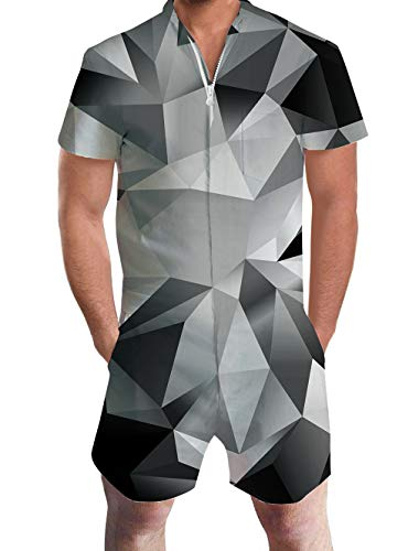 Kurz Overall Männliche Strampelanzug Geometrische Overall Kostüm Erwachsene 3D Sommer Kleidung Onesie Herren Einteilige Hose Kurze M ()