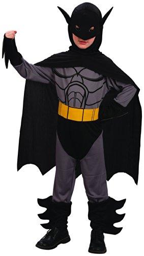 KULTFAKTOR GmbH Fledermaus-Held Kinderkostüm Superhelden-Anzug grau-schwarz-gelb 104/116 (4-6 Jahre)
