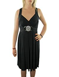 Ladies Jet Black Grecian Wrap Dress with silver Buckle in knee length in Womens All Sizes