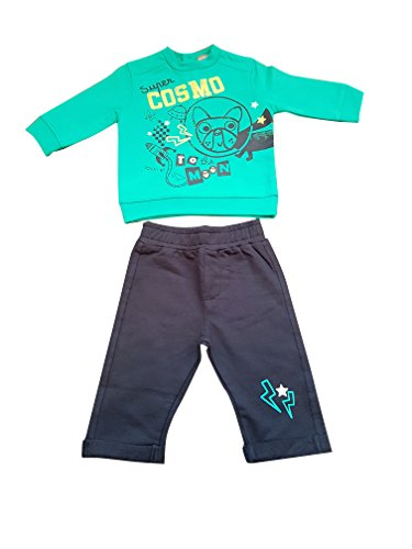 Baby Boys 2 Piece Set, Green Top & Navy Trousers