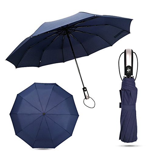 10 Rippe Windabweisend Rahmen Reise regenschirm,xhforever Wind Beständig Klappautomatikschirm Regen Frauen Auto Luxus Große Winddicht Regen Regenschirme Für Männer