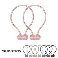 VEERUN Magnetic Curtain Tiebacks 2 Pack Convenient Drape Holdbacks 16 Inch Modern Weave Rope Tie Backs European Style Window Decorative Holder (Pink)