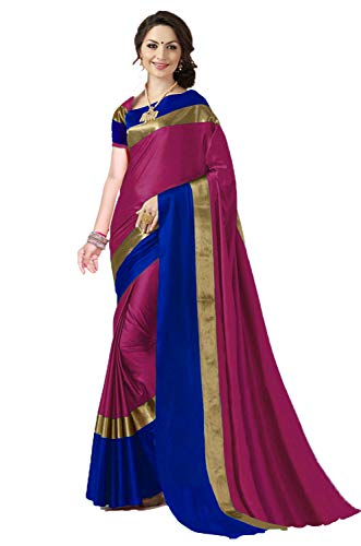 ANNI DESIGNER Indian Women's Cotton Silk Festive Saree with Blouse Piece(Pradip_TD_Pink_Pink & Blue_Free Size)