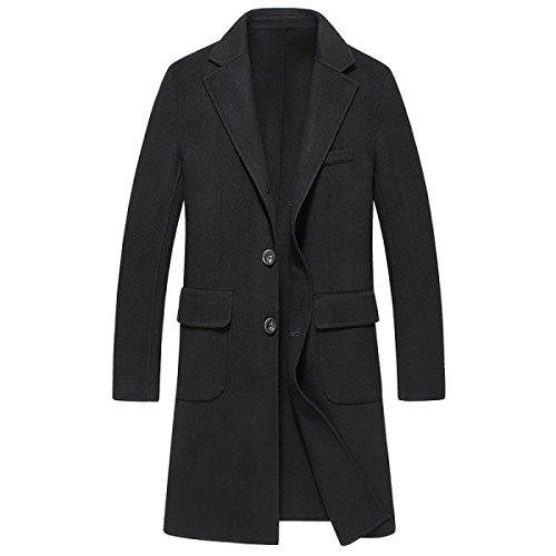 Homme, Haut De Gamme, L'hiver, Le Manteau à Double Face En Cachemire, Et De Longues Sections, Coupe-vent Black
