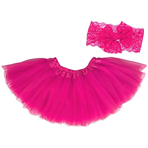 Kostüm Kleinkind Ballerina - Dancina Baby Tüllrock Tutu Classic Set m. passendem Haarband Pink Classic 6-23 Monate