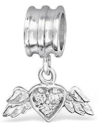 So Chic Joyas - Abalorio Charm Corazón con alas Circonita - Compatible con Pandora, Trollbeads, Chamilia, Biagi - Plata 925
