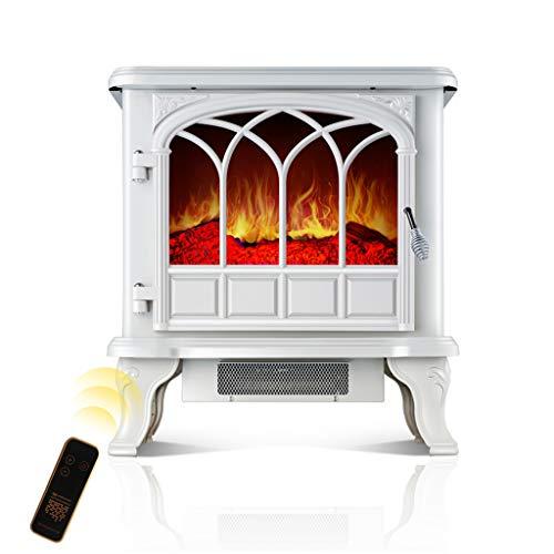 Lxn Zona de Ocio Chimenea eléctrica portátil Estufa Chimenea Independiente Estufa de calefacción Calentador Interior con Quemador de leña Llama 2000W (Blanco)