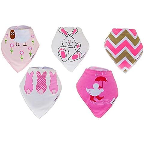 TruBambi Babero bandana para bebés 5unidades súper absorbentes. Set de regalo para bebés. Varios diseños