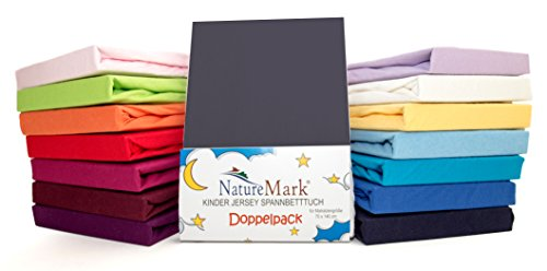 2er Sparpack Kinder Spannbettlaken Jersey 100% Baumwolle für Kinderbettmatratzen ÖKO Tex Geprüft in vielen Farben (Anthrazit / Grau)
