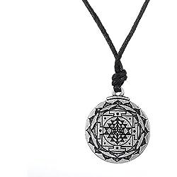 fishhook Collar con Colgante de Sri Yantra para el Crecimiento y la Riqueza, símbolo de la geometría Sagrada