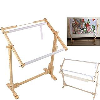 Embroidery Frame, Adjustable Cross Stitch Floor Stand ZJchao Wooden Frame Embroidery Cross Stitch Needlework Lap Frame Craft Tool (Medium)