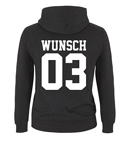 Comedy Shirts - WUNSCH - Kinder Hoodie - Schwarz / Weiss Gr. 134/146 (Glauben Hoodie Kinder)