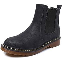 Minetom Donna Autunno Inverno Scarpe da Moda Stivaletti Scarponcini Chelsea Low boots Stivali Cavaliere Nero EU 41
