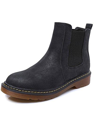 Minetom Donna Autunno Inverno Scarpe da Moda Stivaletti Scarponcini Chelsea Low boots Stivali Cavaliere Nero EU 37