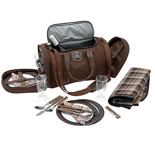 Inspirion Picknicktasche Umhängetasche Tragetasche + Zubehör 29-teilig - braun uni (Klar, Kunststoff-geschirr, Löffel)