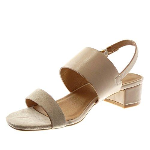 Angkorly Scarpe Moda Sandali Decollete con Tacco con Cinturino Alla Caviglia Donna Tanga Fibbia D'Oro Tacco a Blocco Alto 3.5 cm Beige