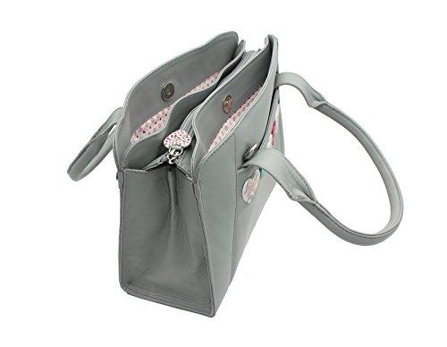 Borsone con Cinturino a Spalla Mala Leather Collezione LUCY in Morbida Pelle 732_30 Grigio Grigio
