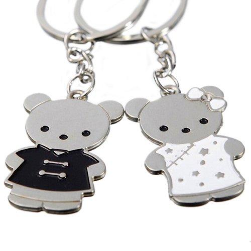 Oyfel - porta-chiavi doppio; motivo: coppia di orsetti cinesi, ottimo regalo per san valentino; in lega; oggetto per le chiavi da auto, ottimo da tenere in borsa; 2 pezzi