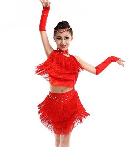 Kinder Latin Kostüm Dance - Kinder Latin Dance Kostüm Mädchen Quaste Kinder Performance Kleidung Tanz Kleidung Wettbewerb gelb/rot/blau, red, 120cm