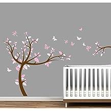 Vinilo Adhesivo de Pared Infantil Rosa Árbol - 145 x 155 cm