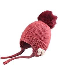 Invierno Bebe Gorros BBsmile Niños lindos Niñas pequeñas Bebé Invierno  Sombrero de punto de ganchillo Gorra 807fc3241f6
