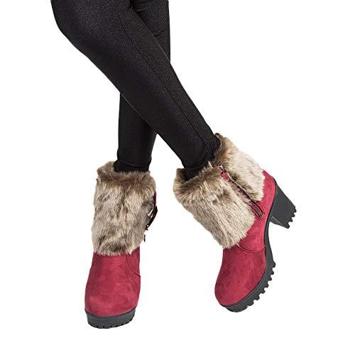 TianWlio Frauen Herbst Winter Stiefel Schuhe Stiefeletten Boots Stiefel Weiche Warme Winterhausschuhe Nach Hause Stumm Niedliche Weiche Plüsch Ballinnenschuhe Wein 39