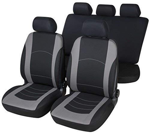 rmg-distribuzione Coprisedili per Fiesta Versione (2008-2012 (VI)) compatibili con sedili con airbag, bracciolo Laterale, sedili Posteriori sdoppiabili Colore Nero Grigio R18S0209