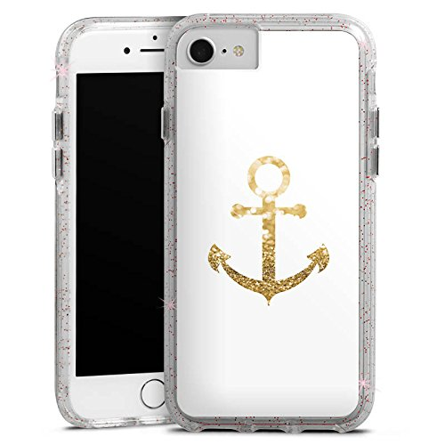 Apple iPhone 6s Plus Bumper Hülle Bumper Case Glitzer Hülle Anchor Anker Gold Bumper Case Glitzer rose gold