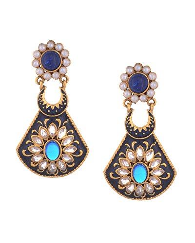 Young & Forever Mädchen Ethinic Diva Bollywood dünne Blät Designer Kulturelle Ohrringe Gold straffen, blau