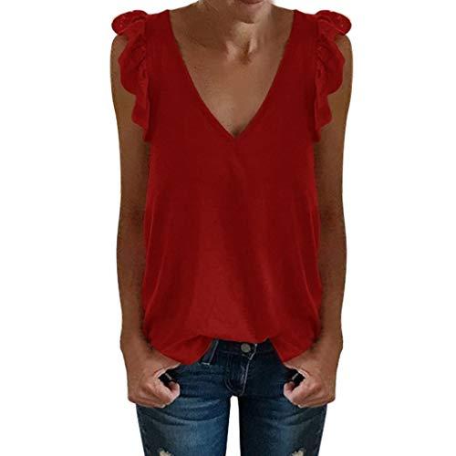 OIKAY Damen V-Ausschnitt Bluse Tops Frauen ärmelloses Solid Shirt Pullover Tops