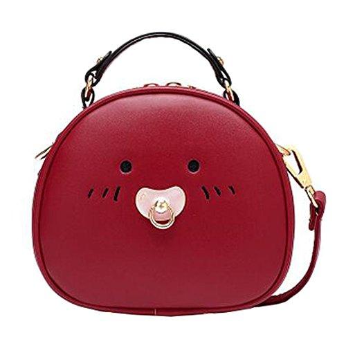 Fille élégante simple sac à bandoulière Bag Fashion Purse, rouge vin