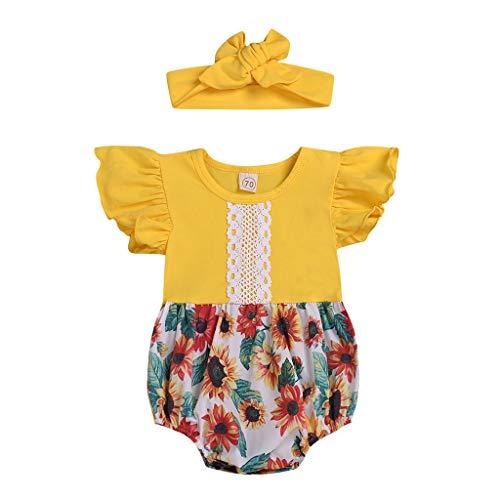 Knowin-baby body Sommer Kurzärmliges Brief-T-Shirt für Kleinkinder, Säugling Baby Mädchen flattern Ärmel Lace Floral Sonnenblume Strampler Bodysuit Outfits