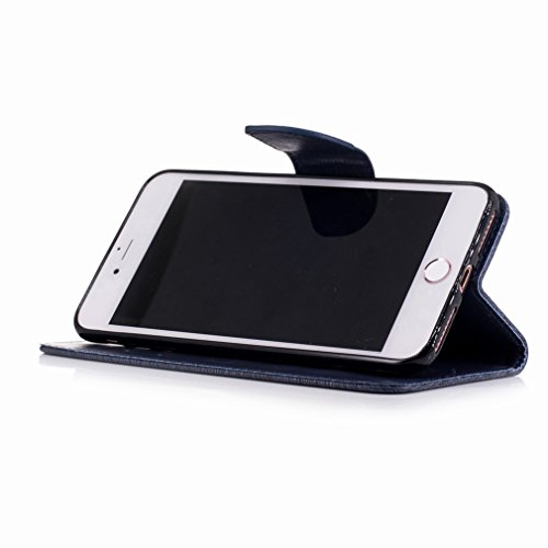 Yiizy Apple IPhone 7 Plus Custodia Cover, Fiore Di Farfalla Design Sottile Flip Portafoglio PU Pelle Cuoio Copertura Shell Case Slot Schede Cavalletto Stile Libro Bumper Protettivo Borsa (Grigio) Blu Profondo