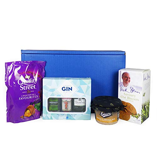 Miniature Gins and Gourmet Food Hamper Presented in a Blue Gift Box - Gift Ideas for Christmas, Valentines, Mother's Day, Birthday, Anniversary, Business and Corporate